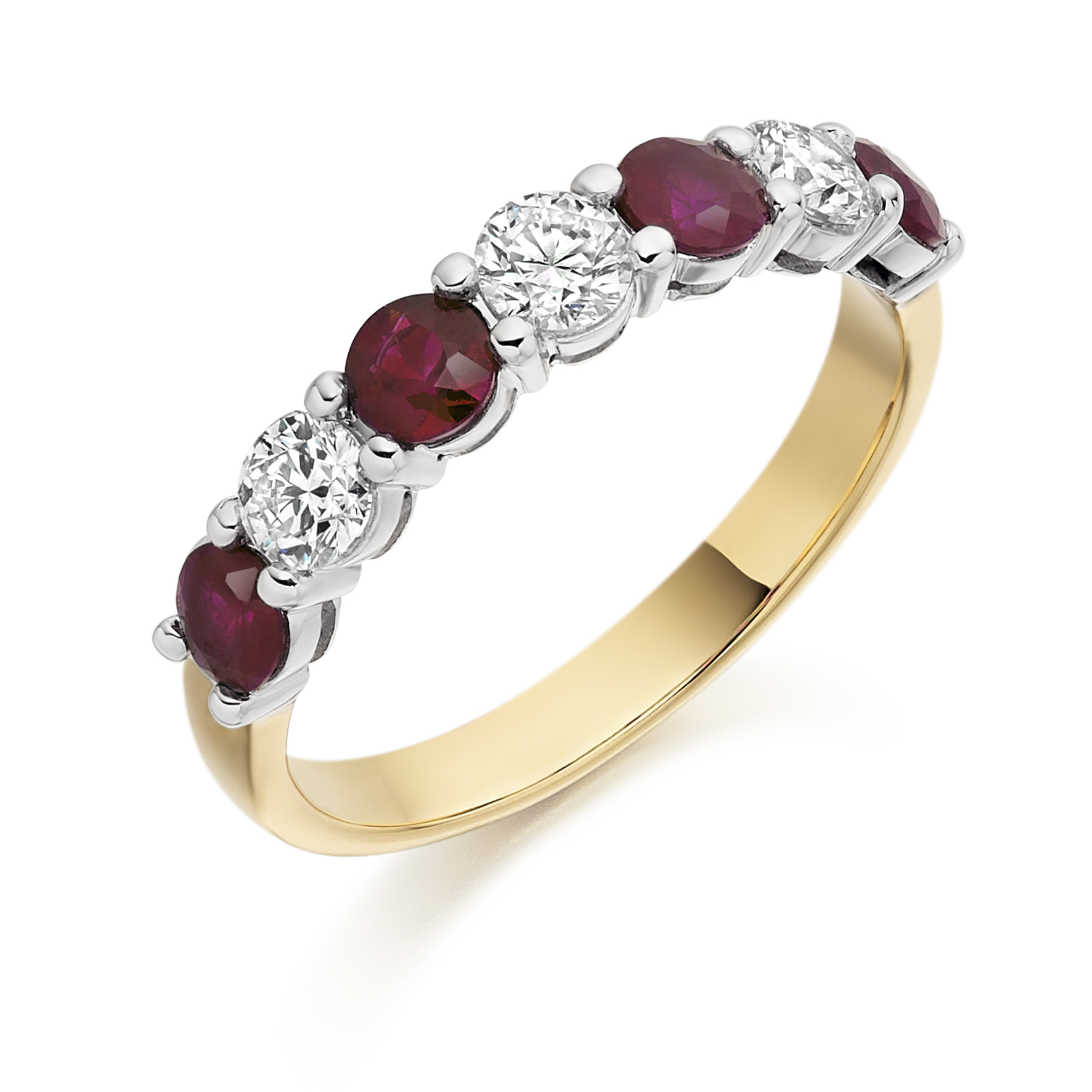 Yellow and white gold hallmarked Ruby and Diamond half eternity ring