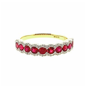 18ct Gold 0.92ct Ruby + 0.13ct Diamond Half Eternity Ring