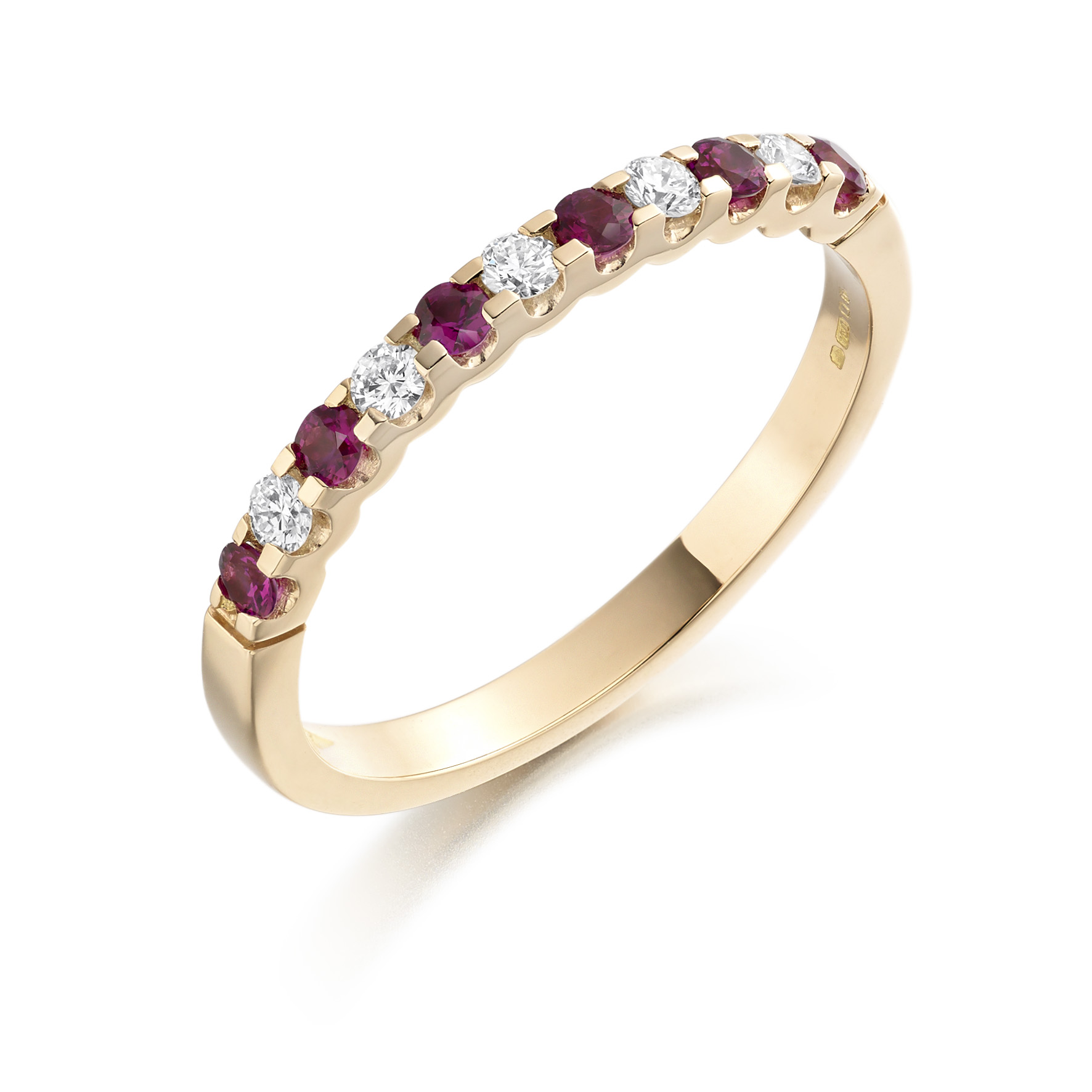 Rose gold ruby and diamond half eternity ring