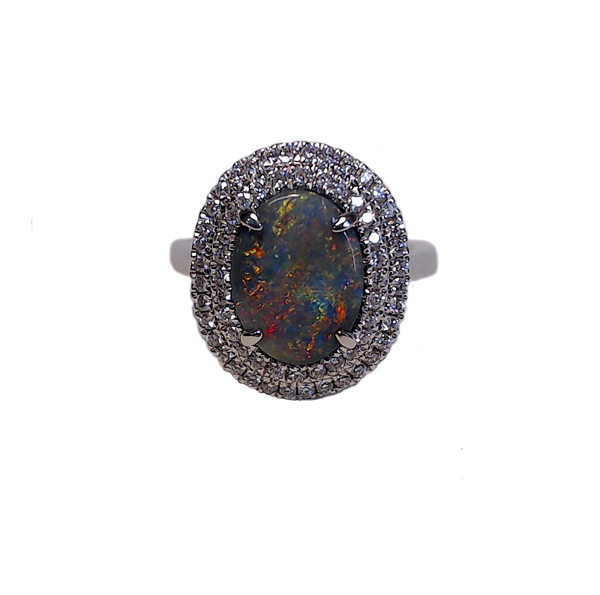 18ct White Gold 1.97ct Opal + 0.40ct Diamond Dress Ring
