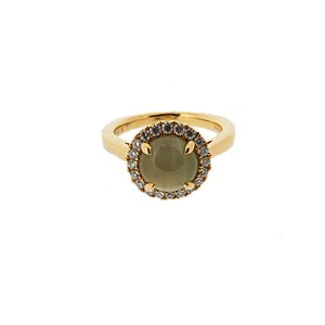 18ct yellow gold chrysoberyl and diamond ring