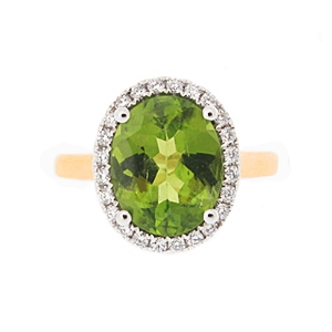 18ct Gold Peridot + Diamond ring