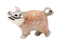 Sterling Silver + Enamel Minature Pig