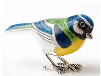 Sterling Silver + Enamel Large Blue Tit