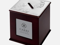 Sterling Silver + Mahogany Childrens Money Box