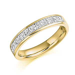 18ct Yellow Gold 1ct Diamond Half Eternity Ring