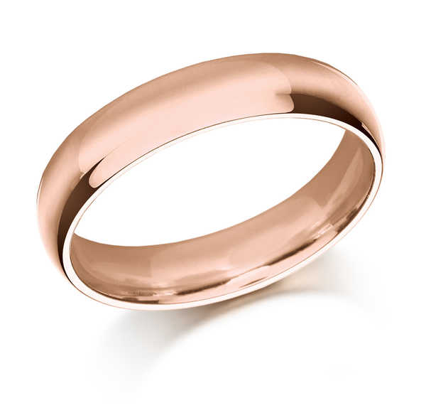 18ct rose gold court shaped 5mm wedding ring