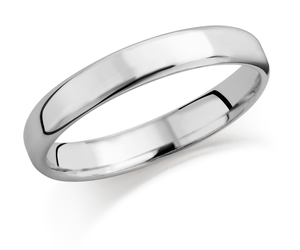 18ct white gold 2.5mm softened flat top court shaped wedding ring