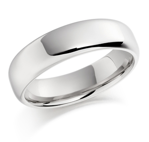 18ct white gold softened flat top court shaped wedding ring