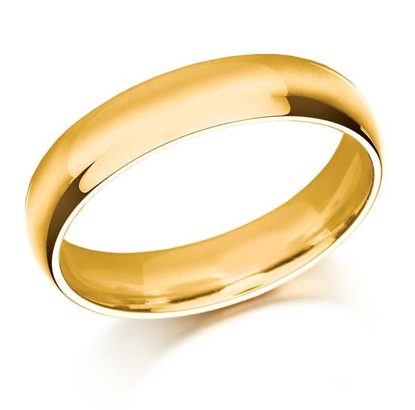 18ct Yellow gold 5mm court shaped wedding ring.