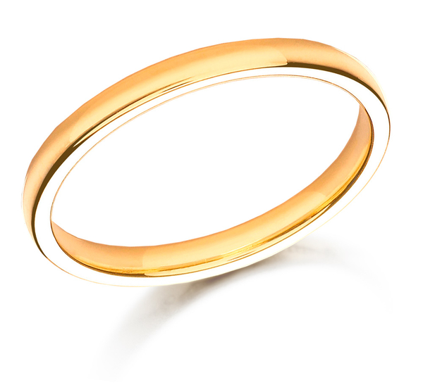 9ct yellow gold court shaped 2.5mm wedding ring