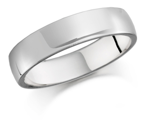 Palladium 6mm flat top court shaped wedding band