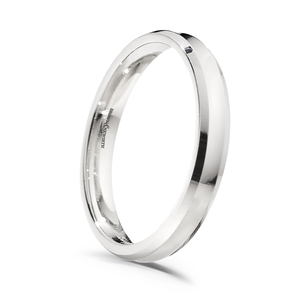 Platinum concave top court shaped wedding ring