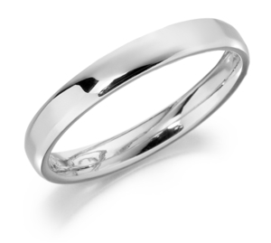 Platinum 2.5mm softened flat top light court shaped wedding ring