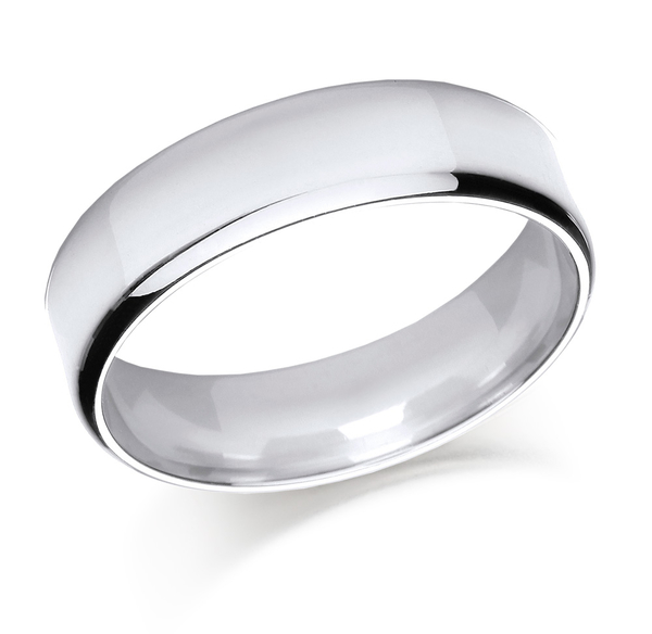 Platinum 5mm softened flat top light court shaped wedding ring