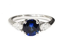 18ct White Gold Sapphire + Diamond Ring