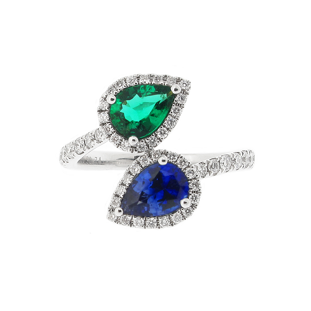 18ct White Gold Sapphire, Emerald + Diamond Dress Ring
