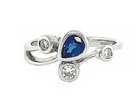 18ct White Gold 0.56ct Sapphire + 0.17ct Diamond Dress Ring