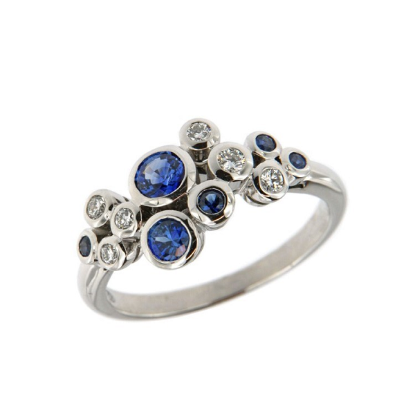 18ct White Gold 0.62ct Sapphire + 0.16ct Diamond Bubble Ring