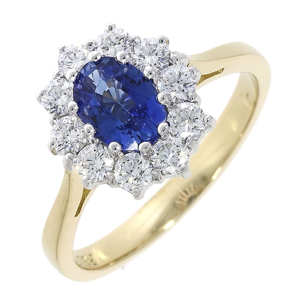 18ct Yellow Gold Sapphire 1.07ct & Diamond 0.55ct Cluster Ring