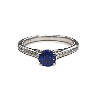 Platinum 0.64ct Sapphire + 0.25ct Diamond Ring