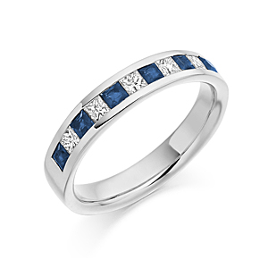 18ct White Gold Sapphire + Diamond Half Eternity Ring