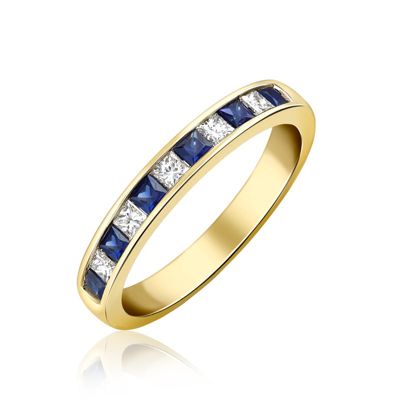 Yellow gold Sapphire and Diamond channel set half eternity ring