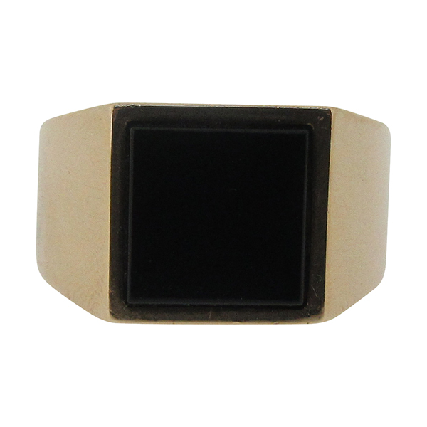 9ct yellow gold square onyx signet ring