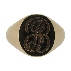 9ct yellow gold oval signet ring with engraving