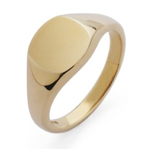 9ct Yellow Gold Cushion Shaped Signet Ring