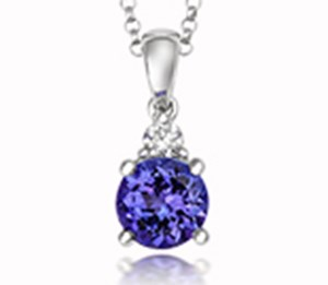 18ct White Gold Tivon Tanzanite + Diamond Pendant