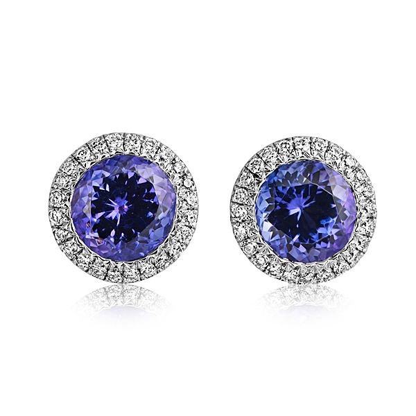 18ct White Gold 1.69ct Tanzanite + 0.15ct Diamond Stud Earrings