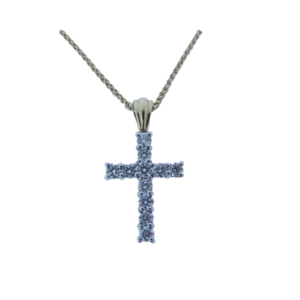 An 18ct White Gold 0.75ct Diamond Cross