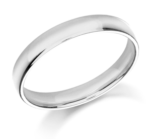 Platinum 2.5mm wide court shaped wedding ring