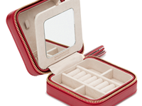 WOLF Caroline Red Leather Jewellery Case